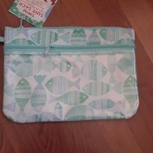 Swim suit sack blue and green fish